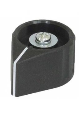 Arrow knob, black, mat finish, with line