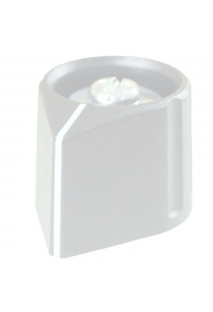 Arrow knob, grey, glossy, with line for spindle d=3mm, coaxial