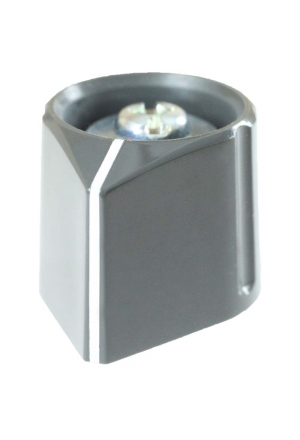 Arrow knob, grey, glossy, with line for spindle d=3mm
