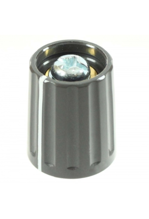 Knob, grey, glossy, with line for spindle d=3mm