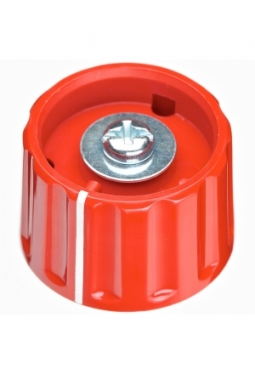 Knob, red, glossy, with line
