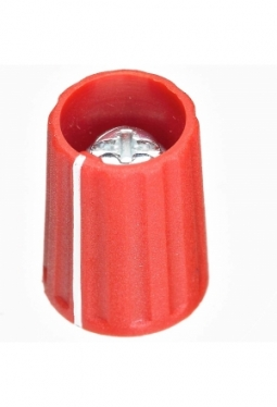 Knob, red, mat finish, with line