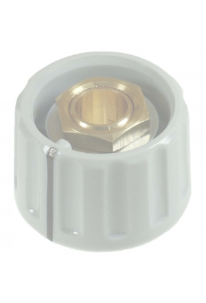 Knob, light grey, mat finisch, with line for spindle d=3mm, coaxial