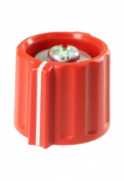 Wing knob, red, mat finish, with line