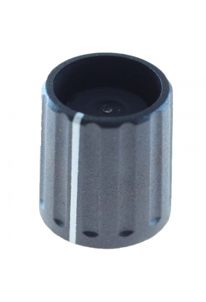"""push on"" knob, black, mat finish, with line"" for spindle d=1/4"""