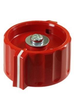 Knebelknopf, rot, glänzend, mit Strich